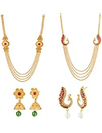 Apara Combo Of Multistrand Necklace Set With Peacock & Jalebis Design For Women