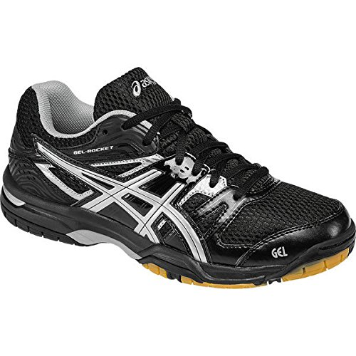 ASICS Women's Gel Rocket 7 Indoor Court Shoe, Onyx/Silver, 8 M US
