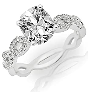 0.86 Carat Cushion Cut / Shape 14K White Gold Eternity Love Twisting Split Shank Diamond Engagement Ring ( H-I Color , SI1 Clarity )