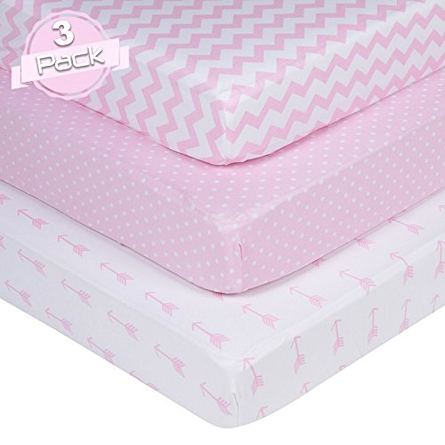 BaeBae Goods Jersey Cotton Fitted Crib Sheets Set | Pink and White | 150 GSM | 100% Cotton | 3 Pack