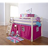 Cabin Bed Mid Sleeper Bunk with Tent Pink in Whitewash 5758WW-PINKby Noa and Nani