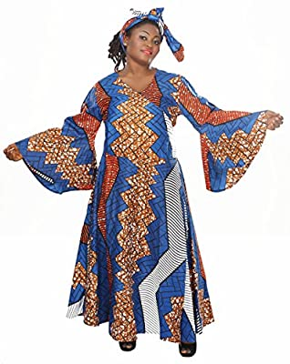 African Planet Bell Sleeves Wrap Around Dress with Headwrap Tie Blue Africa Print