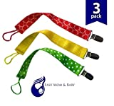 Paci Minder Best Universal Dummy Holder Soothie Clip Cute Pacifier Leash Strap Unisex Stylish Design for Boys Girls for Teething Ring Toys Baby Blankets Perfect Baby Shower Gift 3 pack