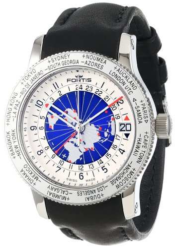 Fortis Orologio da uomo 674,20,15 L, 01 B-47 world timer GMT Limited Edition
