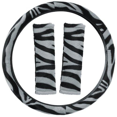 Oxgord Zebra Steering Wheel Cover And Seat Belt Pad Set For The Hyundai Veloster Hatchback In Gray & Black Zebra Print front-822798