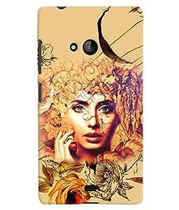 PrintVisa Stylish Cool Girl Angel 3D Hard Polycarbonate Designer Back Case Cover for Nokia Lumia 540