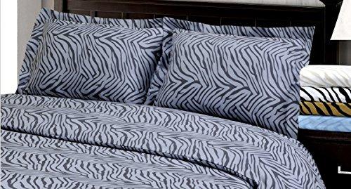 Marrikas Wrinkle Resistant Brushed Microfiber Queen Animal Print Duvet Cover Set Grey front-853431