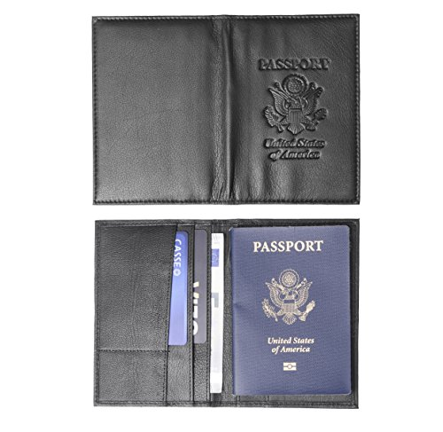 Genuine Leather USA Great Seal Passport Wallet, Case, Holder, Cover (Onyx Black)