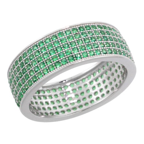 Sterling Silver Cubic Zirconia Micro Pave 5-Row Eternity Band Ring w/ Green Stones, Size 6