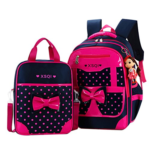 JiaYou Primary Girls Students Polyester School Backpack and Lunch Bag 2 Sets(Rose)