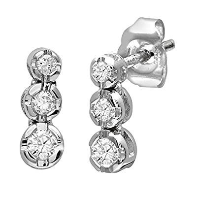Ariel 9ct White Gold 0.15ct Diamond Trilogy Earrings