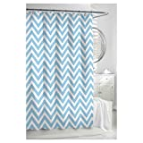 Kassatex Cortina Turquoise & White Classic Chevron Fabric Shower Curtain