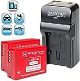 Baxxtar RAZER 600 chargeur 5 en 1 + 2x Baxxtar Batterie pour Canon NB-10L -- NOUVEAU avec entrée micro USB. Sortie USB pour charger simultanément un troisième dispositif (GoPro, iPhone, tablette, smartphone, etc ..) pour Canon PowerShot G16 G15 G1 X G3 X et SX40 SX50 SX60 HS