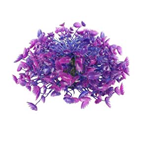 Aquarium Aquascaping Blue Purple Manmade Plastic Plant Grass Ornament 4.7Height