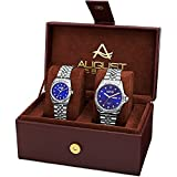 August Steiner Unisex AS8201SSBU Quartz Movement Analog Display Watch Set