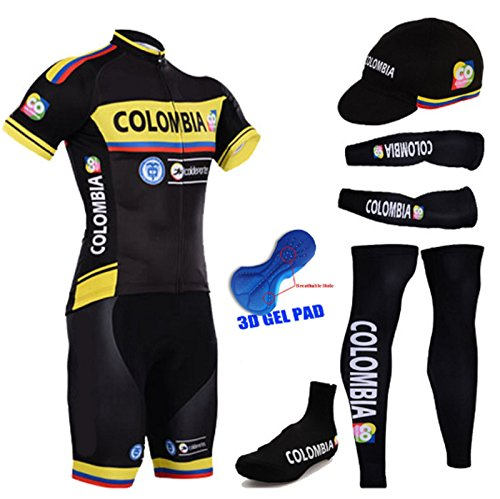 Newest Colombia cycling team cycling jersey breathable cycling clothing set wth bib short/ 3D gel pad/sportswear suit 6 in 1 (Black, L)