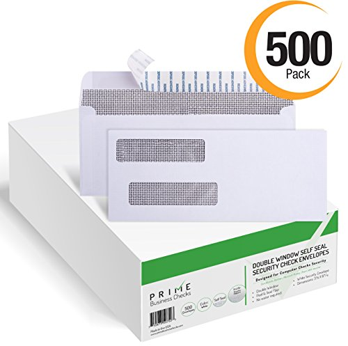 500 SELF SEAL Double Window Security Tinted Envelopes  Designed for Business Checks, QuickBooks, Laser Checks  Security Tinted  Self adhesive Peel and Seal  White  Size 3 5/8
