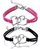 Via Mazzini Love Birds Black Pink Heart Couple Bracelets For Men And Women