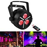 OPPSK LED Par Lights with 3 Multi-Effect RGB+UV+SMD LED Wash / Strobe by IR Remote and DMX Control for DJ Party Stage Lighting