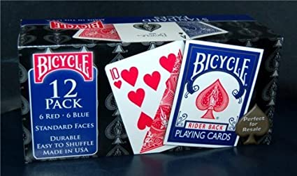 12 Decks Bicycle Playing Cards, Player's Pack, Poker, Standard Faces, Rider Back
