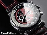 自動巻きバイカラー腕時計 ガンメタリック ブラック×レッド 本牛革ベルト スワロフスキー 黒 赤【並行輸入品】[時計]