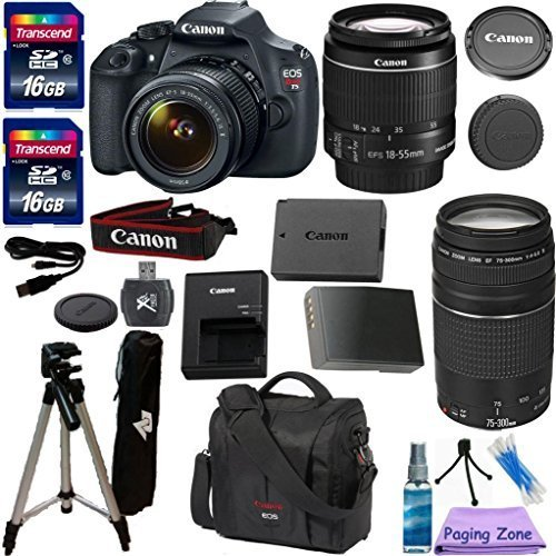 Canon EOS Rebel T5 DSLR CMOS Digital SLR Camera and DIGIC Imaging with EF-S 18-55mm f/3.5-5.6 IS Lens PZ Exclusive Camera Bundle with Canon 75-300mm III Zoom Lens + Original Canon Carrying Case + 57