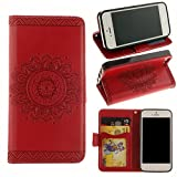 [Black Friday Deals]For iPhone 5/5s Wallet Case,Valentoria Mandragora Flower Premium Vintage Emboss Leather Wallet Pouch Case with Wrist Strap for iPhone 5/5s (iPhone 5/5s, Red)