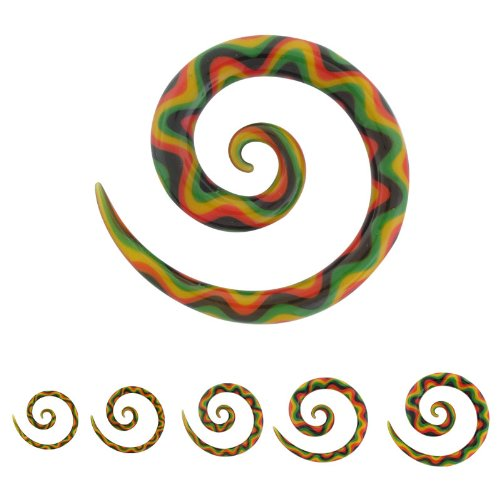 Glass Super Rasta Spirals - 2g (6.5mm) - Sold As A Pair