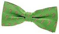 "Green Christmas Woven Pre-tied Bow Tie with Christmas Candy Canes Pattern (4.5"")"
