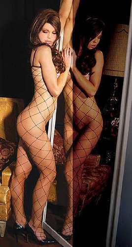 Lycra Seamless Big Diamond Net Bodystocking w/ Open Crotch - One Size