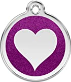 Red Dingo Stainless Steel & Glitter Enamel Heart Dog ID Tag (Purple, Small)