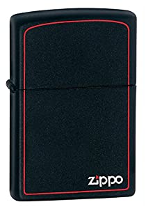 Zippo Black Matte Lighter with Border