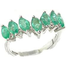 buy Rare Solid Sterling Silver Natural Emerald High Quality Wishbone Eternity Ring - Size 11.5 - Finger Sizes 5 To 12 Available - Suitable As An Anniversary Ring, Engagement Ring, High Quality Ring, Or Promise Ring