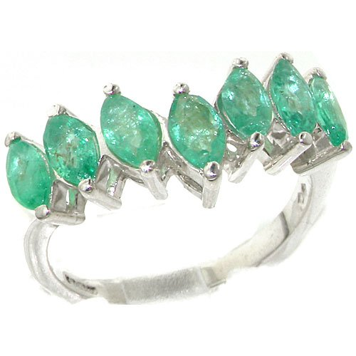 Rare Solid Sterling Silver Natural Emerald High Quality Wishbone Eternity Ring - Size 11.75 - Finger Sizes 5 to 12 Available - Suitable as an Anniversary ring, Engagement ring, High Quality ring, or Promise ring