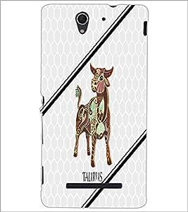 PrintDhaba Zodiac Taurus D-4799 Back Case Cover for SONY XPERIA C3 (Multi-Coloured)