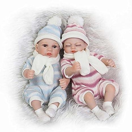 "Terabithia Mini 10"" Realistic Reborn bébé Fille Garçon Poupées Silicone Full Body Newborn Jumeaux"