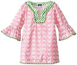 Mud Pie Little Girls' Crab Tunic, Pink/Green, 3T
