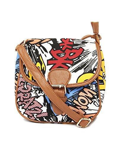 Toniq Toniq Comic Printed Sling Bag (Multicolor)