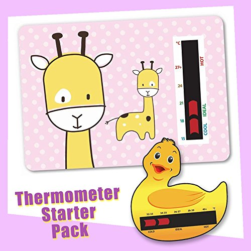 Baby Duck Bath & Pink Giraffe Nursery Room Thermometer Starter Pack - New Technology By Baby Thermometer Baby Safe Ideas