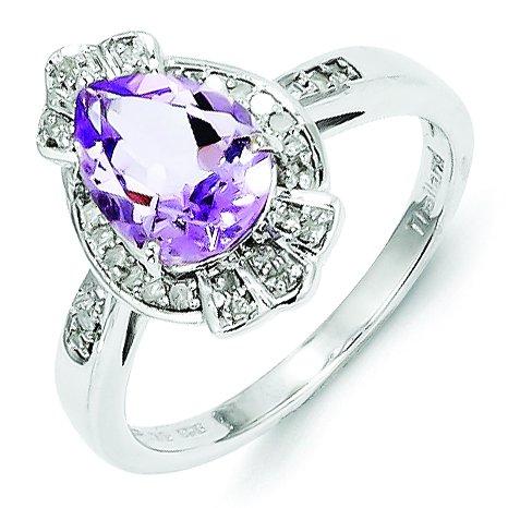 Sterling Silver Diamond & Pink Amethyst Teardrop Ring