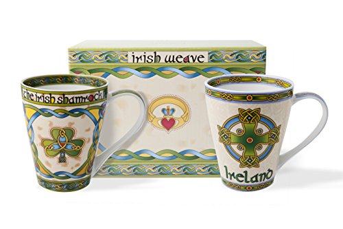 Trèfle et Irlande celtique Tasse Lot de deux avec boîte cadeau assortie...