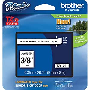 "Brother P-Touch PT-1130 Label Tape (OEM) 0.35"" Black Print on White"