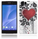 Sony Xperia Z2 Case - White, Red & Black Hard Plastic (PC) Cover with Grunge Heart Design