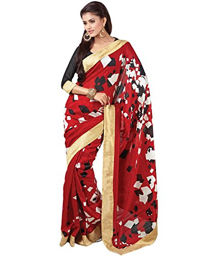 Cbazaar Red Silk Saree With Blouse Piece