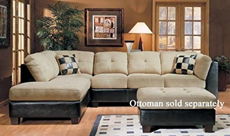 Sectional Sofa Couch Chaise Beige Microfiber Dark Brown Bycast