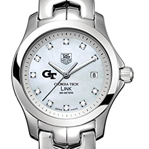 Georgia Tech TAG Heuer Watch - Ladies Link Watch with Mother of Pearl Diamond by TAG Heuer
