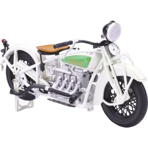 New Ray 1930 Indian Chief Replica Motorcycle Toy - White / 1:12 Scale