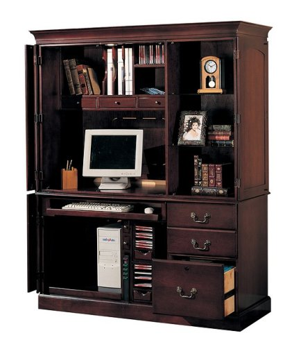 Buy Low Price Comfortable Dark cherry finish wood computer armoire cabinet desk (B000XMMTK4)