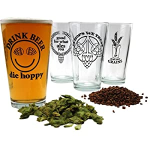 Hopspeak Pint Beer Glass Collection - Set of 4 by KegWorks