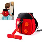 Liroyal Baby Toddler Safety Harness Reins Backpack red ladybugs